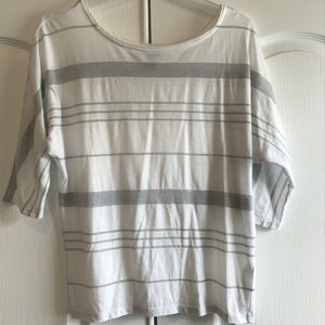 WHBM White/silver striped t-Shirt Size S Small